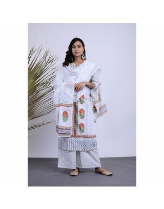 White Block Printed Kurta Palazzo Set with Dupatta