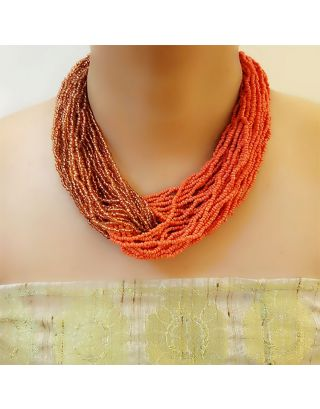 Orange Glass Beads Necklace