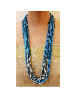 Blue Long Beads Necklace