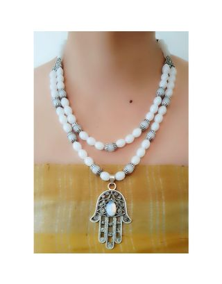 White Beads Necklace with Pendant