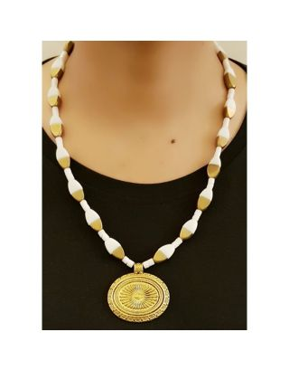 White and Gold Beads Necklace