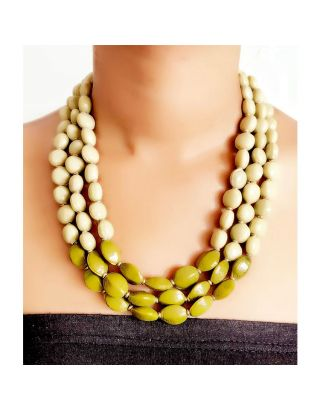 White and Green Beads Necklace