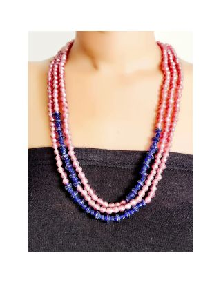 Pink and Blue Beads Necklace