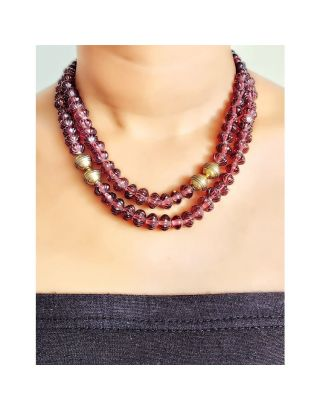 Pink Glass Beads Necklace
