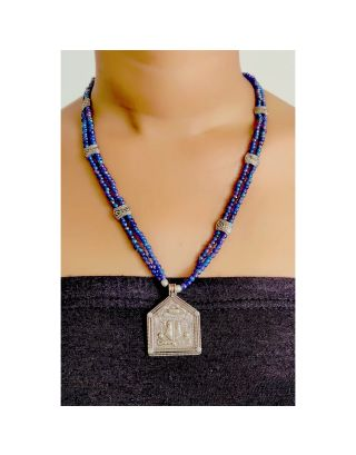 Blue Beads Necklace with Silver Pendant
