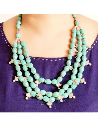Blue Silver Beads Necklace