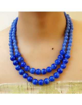 Blue 2 Layered Beads Necklace