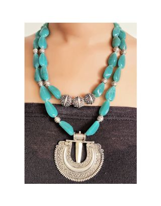 Turquoise Necklace with Silver Pendant