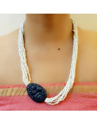 White and Blue Beads Necklace