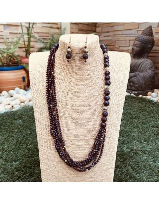 Brown Beads Necklace Set