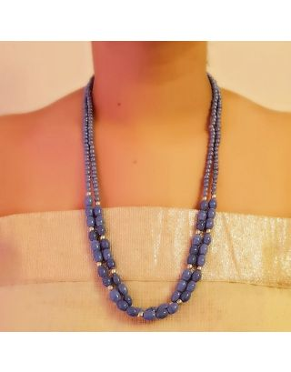 Blue 2 Layered Long Necklace