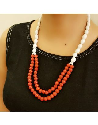 White & Red Beads Necklace