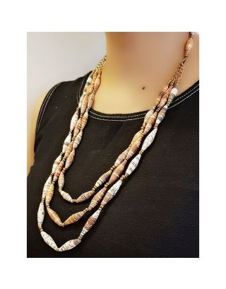 Three Layered Paper Bead Necklace
