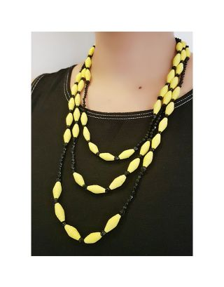 Yellow and Black Paper Bead Necklace