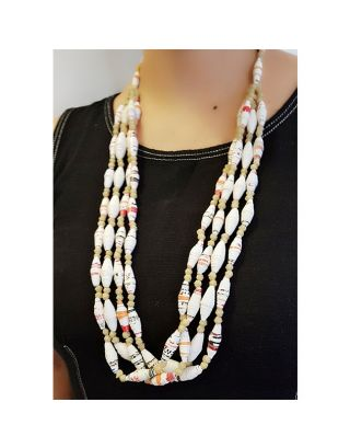 White Layered Paper Bead Necklace