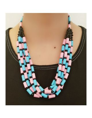 Blue and Pink Paper Bead Necklace