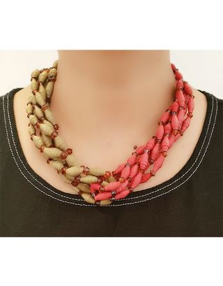 Brown and Red Paper Bead Necklace