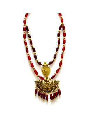 Red Two Layer Necklace with Pendant