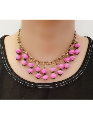 Pink Layered Paper Bead Necklace