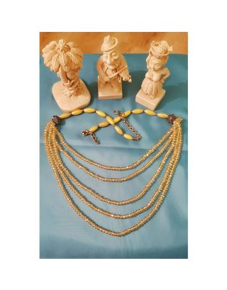 Yellow Beads Multilayer Necklace