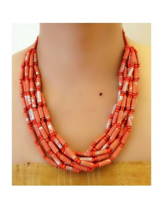 Red Multi Layered Paper Bead Necklace