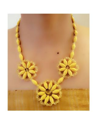 Yellow Floral Paper Bead Necklace