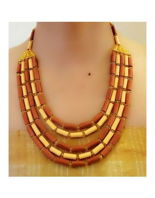 Yellow and Brown Multi Layered Paper Bead Necklace
