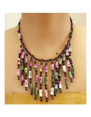 Purple and Green Paper Bead Necklace