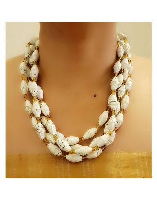 White and Golden Paper Bead Necklace