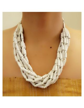 Pure White Paper Bead Necklace
