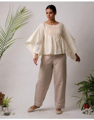 Cream Gathered Top