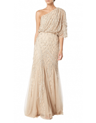 Champagne One Shoulder Embellishment Gown