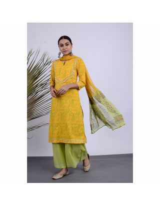 Yellow Block Printed Kurta Palazzo Set with Dupatta