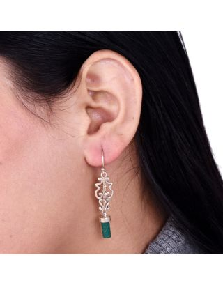 Green Sterling Silver Carved Earrings