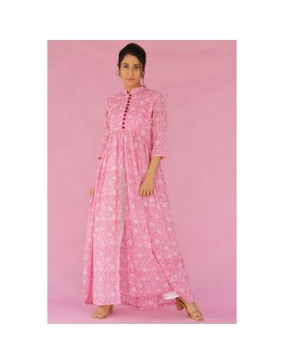 Pink Hand Block Printed Slit Cape