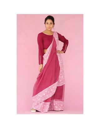 Wine Saree with Pink Hand Block Printed Border