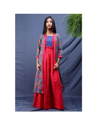 Pink Maxi Dress with Blue Printed Long Jacket