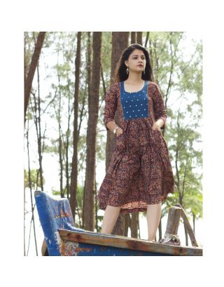 Maroon Kalamkari Mirror Yoke Dress