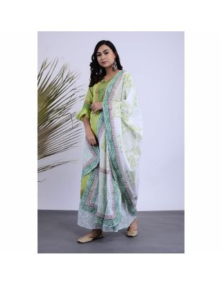 Green Block Printed Kurta Palazzo Set with Dupatta