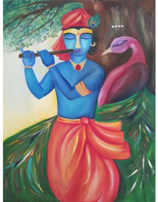 Krishna And The Peacock Painting