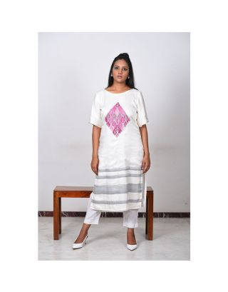 Off-White Floral Pink Embroidered Kurta