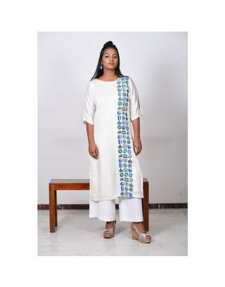 Off-White Blue Embroidered Kurta