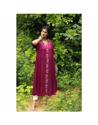 Wine Embroidered Gathered Kurta