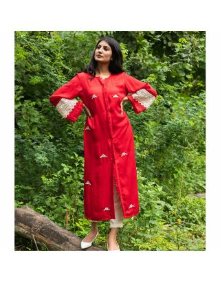 Red Floral Embroidered Straight Kurta