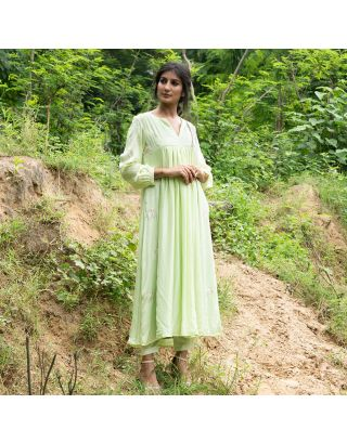 Pastel Green Motif Embroidered Kurta