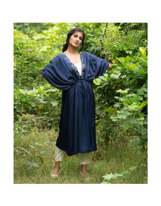 Navy Blue Motif Embroidered Kaftan