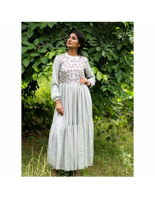 Grey Floral Embroidered Gathered Kurta
