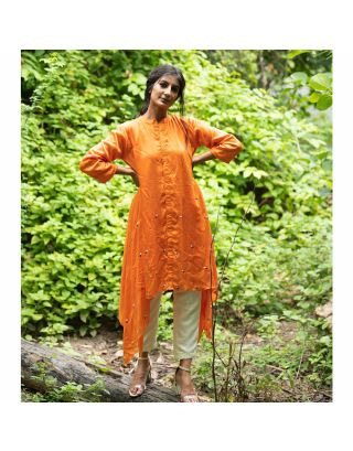 Orange Button Down Embroidered Kurta