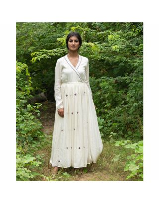 White Embroidered Angrakha Kurta