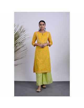Yellow Block Printed Kurta Palazzo Set